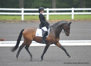 Rebecca Hart and Lord Ludger ride in the rain at the 2012 USEF Para-Equestrian Dressage Selection Trials/Paralympic Trials