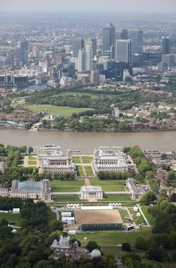 Aerial view of Greenwich Park showing the test event set up 04/07/2011