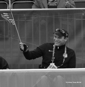 Jonathan Wentz waving the U.S. Flag at the 2012 London Paralympics (C) Lindsay Yosay McCall